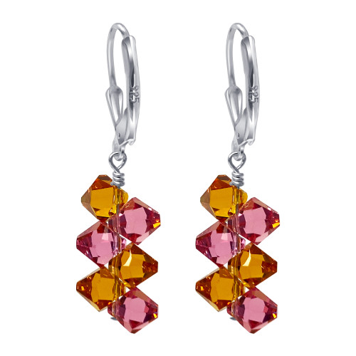 925 Silver Yellow & Pink Crystal Drop Earrings