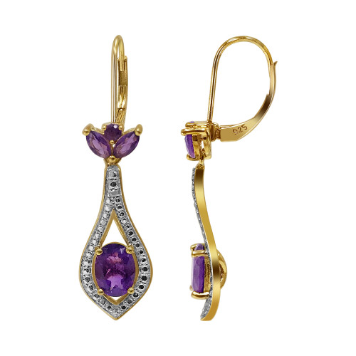 Gold Over 925 Sterling Silver Vermeil Oval Design Amethyst Gemstone Leverback Earrings