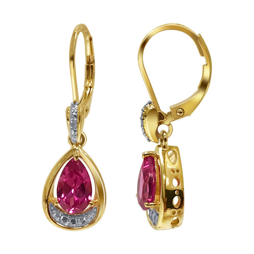 Gold Over 925 Silver Pink Topaz Gemstone Earrings