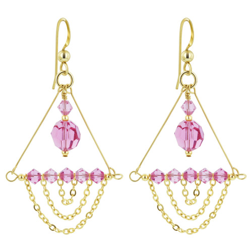 14K Gold Filled Swarovski Elements Pink Crystal Chandelier Drop Earrings