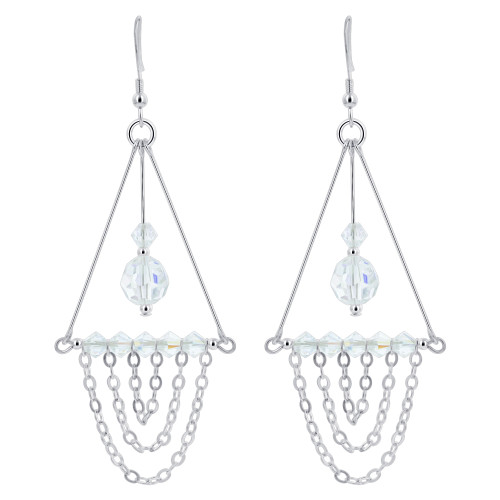 Clear AB Swarovski Elements Crystal Sterling Silver Chandelier Earrings