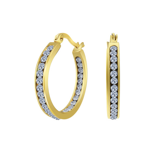 Gold plated Stainless Steel Cubic Zirconia CZ 25mm Hoop Earrings