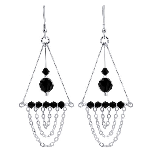Black Swarovski Elements Crystal Sterling Silver Chandelier Earrings