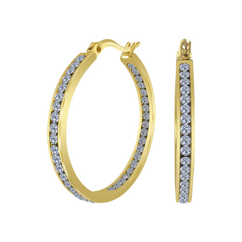 Gold plated Stainless Steel Cubic Zirconia CZ 35mm Hoop Earrings