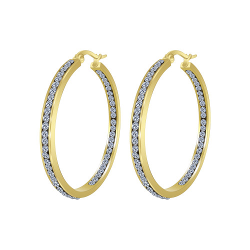 Gold plated Stainless Steel Cubic Zirconia CZ 40mm Hoop Earrings