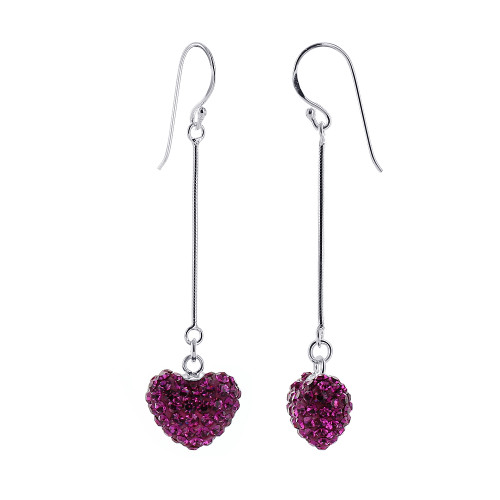13mm x 11mm Pink Heart Sterling Silver French Wire Dangle Earrings