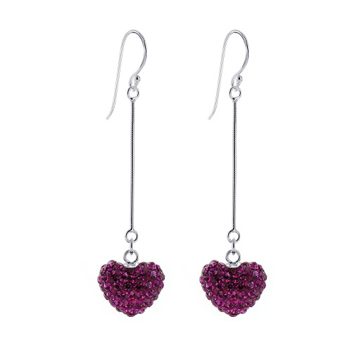 Pink Heart Sterling Silver Dangle Earrings