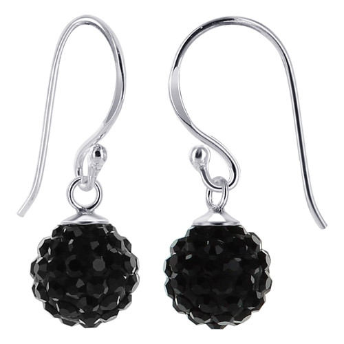 8mm Studded Black Crystal Sterling Silver French Ear Wire Drop Earrings