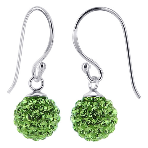 8mm Green Crystal studded Sterling Silver French Wire Drop Earrings