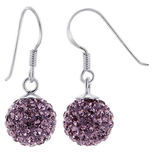 10mm Studded Lavender Crystal Sterling Silver French Wire Drop Earrings