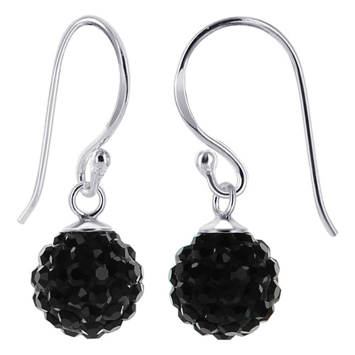 10mm Studded Black Crystal Sterling Silver French Ear Wire Drop Earrings