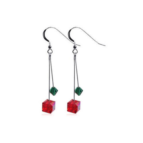 Sterling Silver Diagonal Cube Shape Swarovski Elements Crystal Drop Earrings