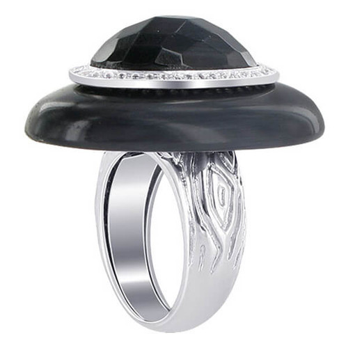 925 Sterling Silver Oval Black CZ 6mm Cocktail Ring