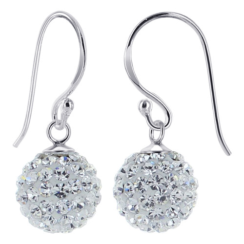 925 Silver Studded Clear Crystal French Ear Wire Drop Earrings