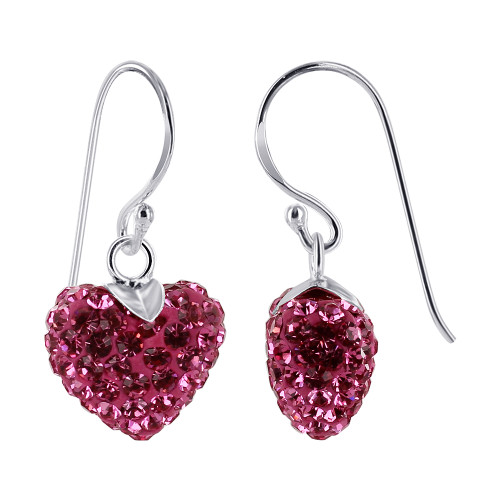 10mm Pink Heart Sterling Silver French Ear Wire Drop Earrings