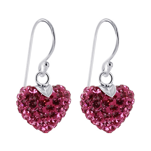 Pink Heart Sterling Silver Drop Earrings