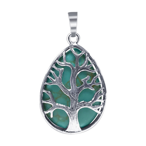 Silver Plated Tree of Life Teardrop Howlite Simulated Turquoise Gemstone 1.75 X 1 inch Pendant
