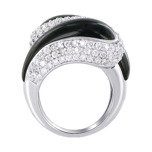 Black Onyx and Cubic Zirconia Ring