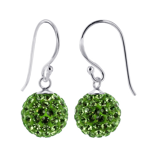 10mm Studded Green 925 Sterling Silver French Wire Drop Earrings