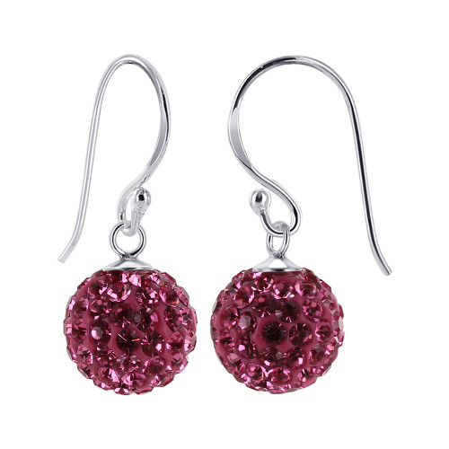 8mm Studded Pink Crystal Sterling Silver French Wire Drop Earrings