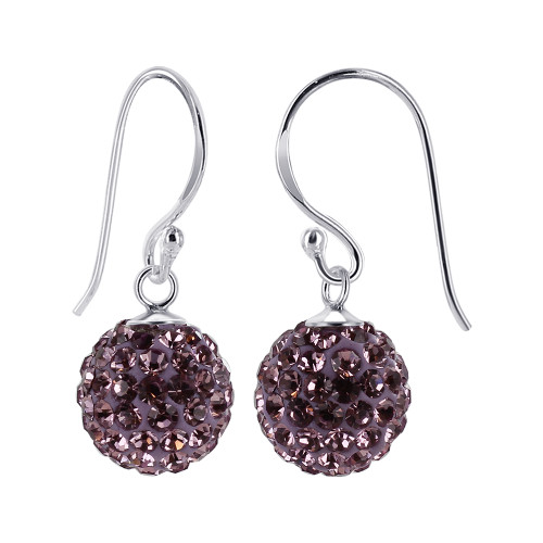 8mm Studded Lavender Crystal 925 Sterling Silver French Wire Drop Earrings