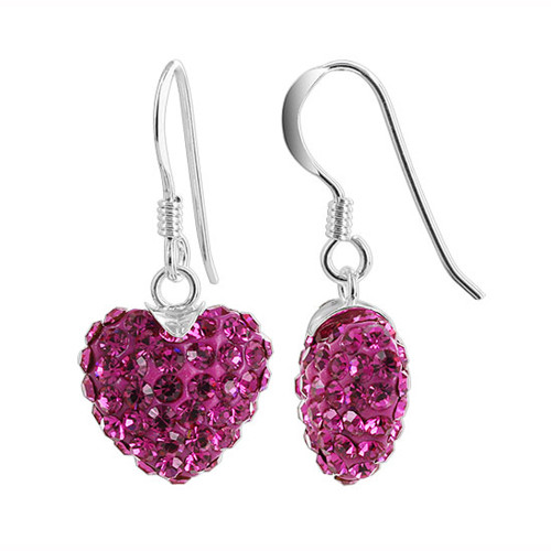 12mm Fuchsia Heart 925 Sterling Silver French Ear Wire Drop Earrings