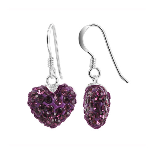 12mm Purple Heart Sterling Silver French Ear Wire Drop Earrings