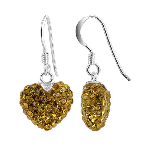 12mm Yellow Heart 925 Sterling Silver French Ear Wire Dangle Earrings