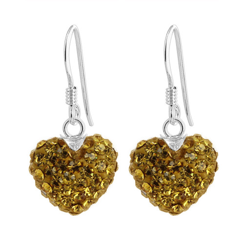 12mm Yellow Heart 925 Sterling Silver Dangle Earrings