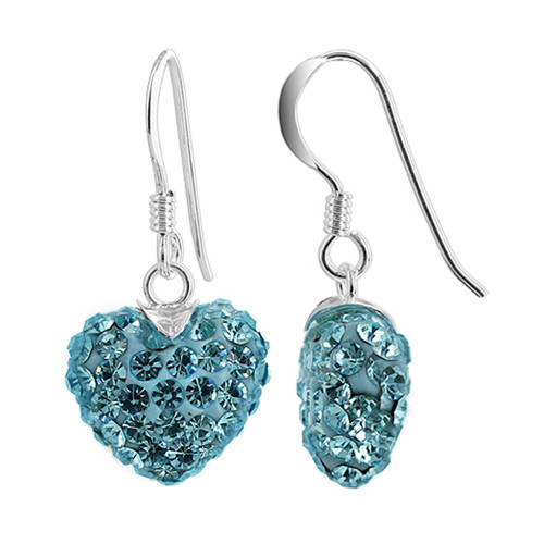 12mm Blue Heart 925 Sterling Silver French Wire Dangle Earrings