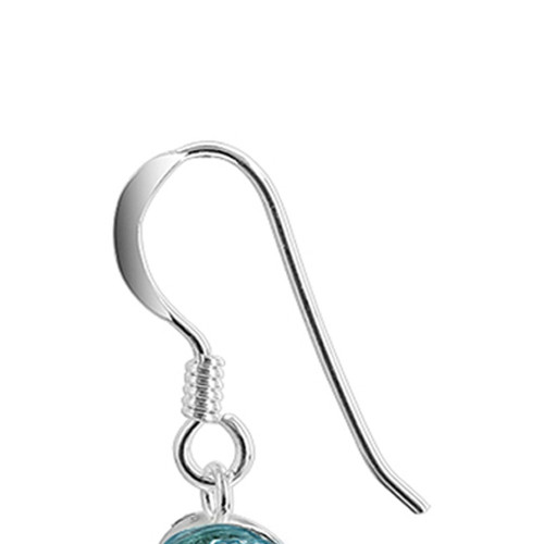 Blue Heart Sterling Silver Dangle Earrings