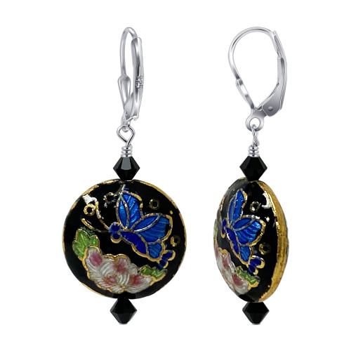 925 Silver Cloisonne Beads with Black Swarovski Crystal Leverback Drop Earrings