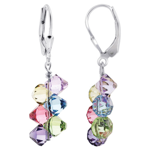 Swarovski Elements Multicolor Crystal Handmade Drop Earrings with Sterling Silver Secure Leverback