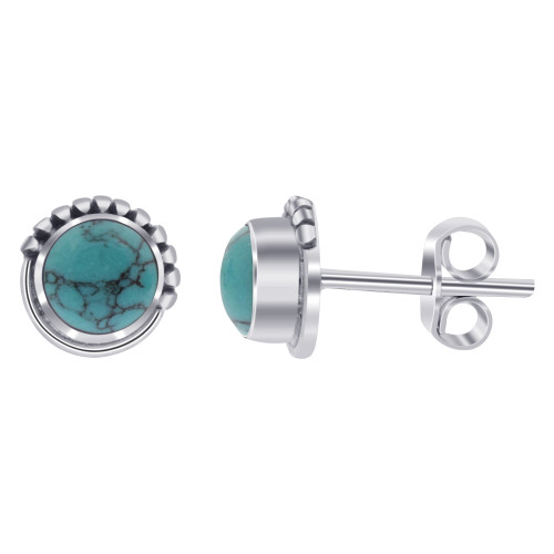 Round Turquoise 925 Sterling Silver Post back Stud Earrings