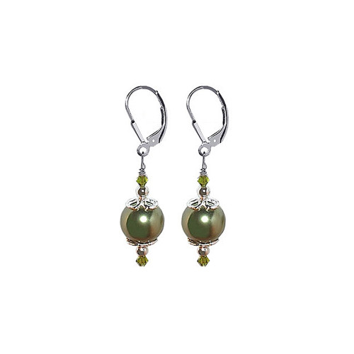925 Silver Swarovski Green Crystal and Olive Imitation Pearl Drop Earrings