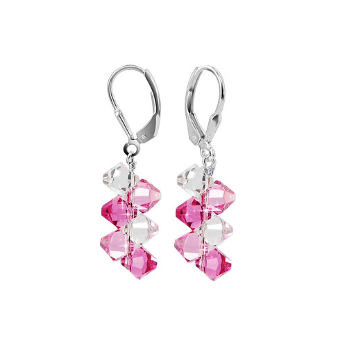 Cluster Swarovski Elements Pink & Clear Crystal Leverback Handmade Drop 925 Sterling Silver Earrings