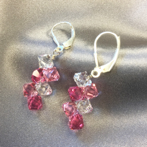 Swarovski Elements Pink & Clear Crystal Drop 925 Silver Earrings