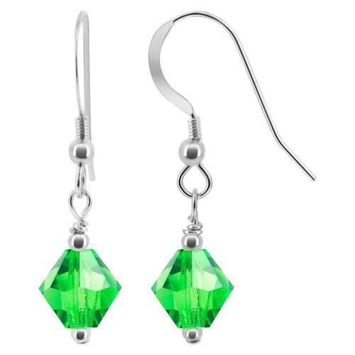Bicone Shape Swarovski Elements Light Green Crystal Sterling Silver Handmade Drop Earrings
