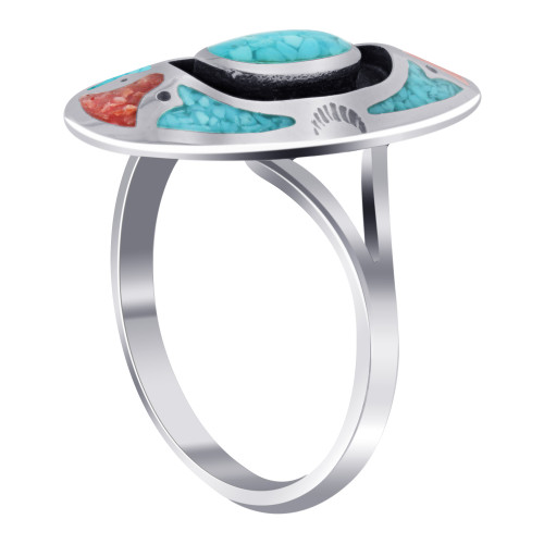 Oblong Shape Turquoise and Coral Gemstone