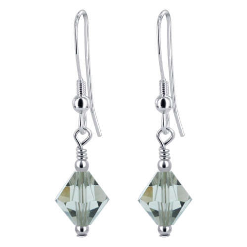 Bicone Shape Swarovski Elements Olive Crystal 925 Sterling Silver Handmade Drop Earrings