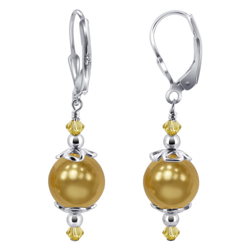 Gold Faux Pearl with Swarovski Elements Crystal Handmade Sterling Silver Leverback Drop Earrings
