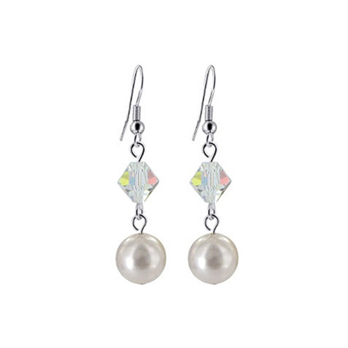 925 Silver White Faux Pearl with Swarovski Crystal Handmade Drop Earrings