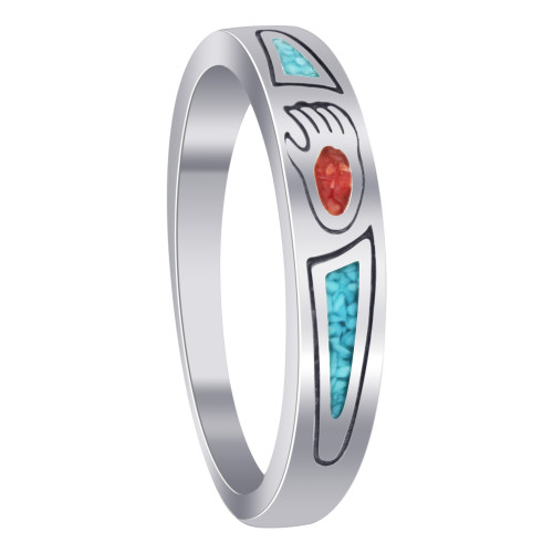 925 Silver Turquoise & Coral Southwestern Style Ring