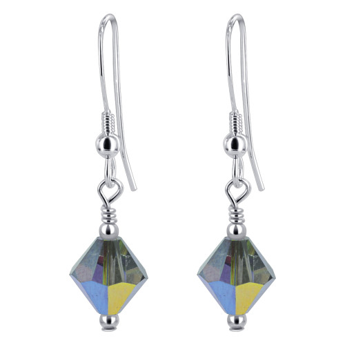 Bicone Shape Swarovski Elements Olive Crystal Sterling Silver Handmade Drop Earrings