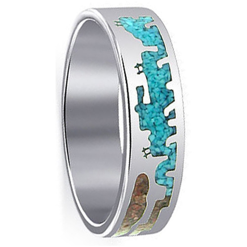 Men's Sterling Silver Turquoise & Coral Southwestern Style Band