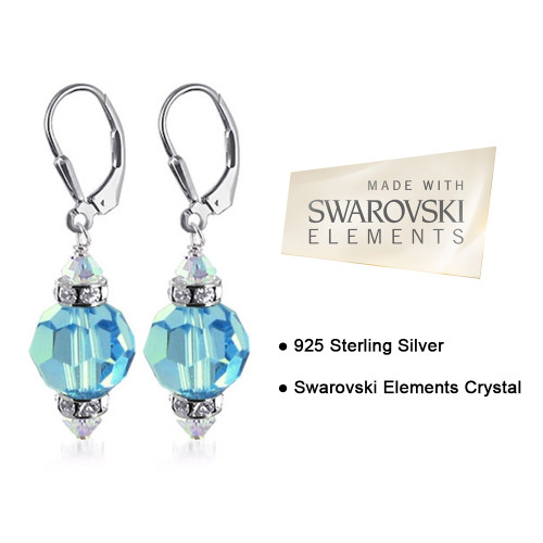Aqua Blue Crystal Sterling Silver Drop Earrings