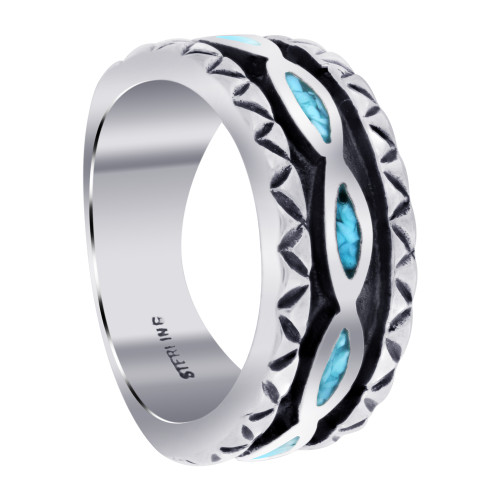 Men's Southwestern Style Turquoise Gemstone Sterling Silver Band Ring