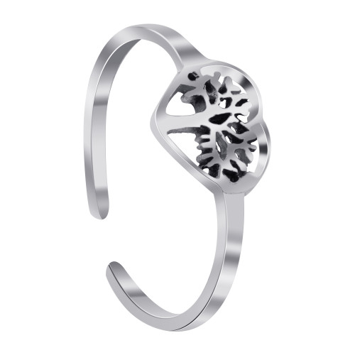 925 Sterling Silver Tree Of Life In Heart Toe Ring