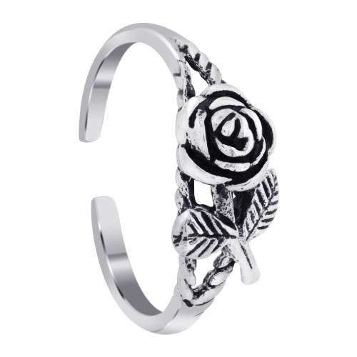 925 Sterling Silver Rose With Leaves Toe Ring