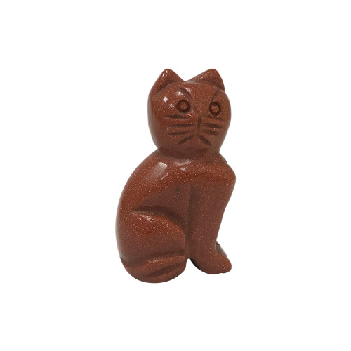 """Gorgeous Hand Carved Goldstone 2.5"""" Cat Sculpture Figurine"""